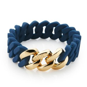 The Rubz Natural Silicone 15mm Unisex Bracelet Navy Blue & Gold
