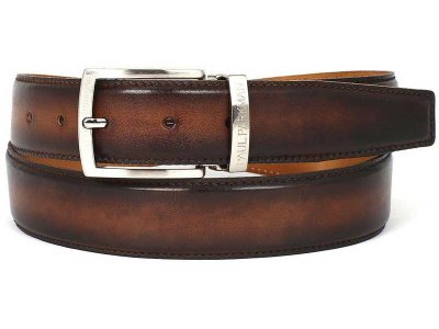 Paul Parkman Hand Painted Leather Belt Brown & Camel B01-BRW...