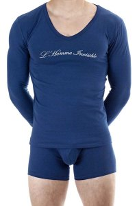 L'Homme Invisible Logo Long Sleeved T Shirt Navy MY75-BAS-04...