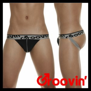 Groovin Signature Waistband Sports Jock Strap Underwear Black JK0202