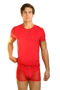 Lookme OPEN SPIRIT Sheer Rivet Short Sleeved T Shirt Red 32-81