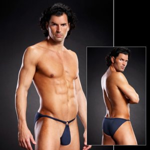 Blue Line Performance Metal Ring Microfiber Pouch Bikini Underwear Navy Blue BLM022