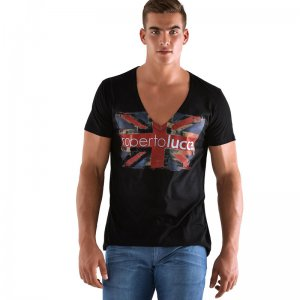 Roberto Lucca London Deep V Neck Short Sleeved T Shirt Black RL-224-00020