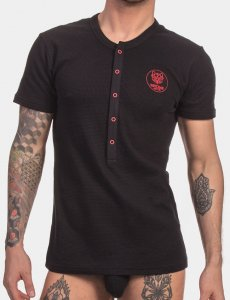 Barcode Berlin Dante Henley Short Sleeved T Shirt Black/Red ...