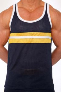 Pistol Pete Contender Tank Top T Shirt Navy/Yellow TK135-442