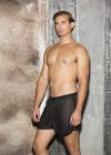 Gyz Sheer Poly Stripe Knit Loose Boxer Shorts Underwear Black 25488