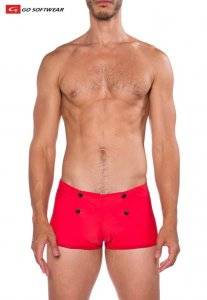 Go Softwear Sailor Square Cut Trunk Swimwear Red 4557