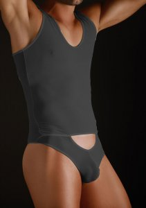 MaleBasics MOB Eroticwear Sheer Bodysuit with Cutout Pouch Black MBL09