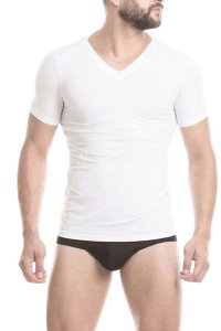Mundo Unico Microfiber Tonic V Neck Short Sleeved T Shirt White 16001403