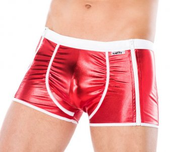 Andalea Double Side Zipper Boxer Brief Underwear Red/White M...