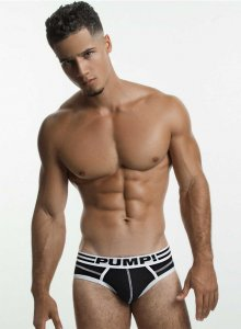 Pump! Lux Brief Underwear Black/White 12038