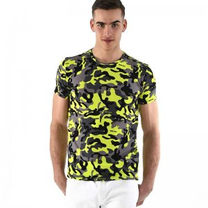 Roberto Lucca Slim Fit Camo Short Sleeved T Shirt Neon Yellow 90218-11171