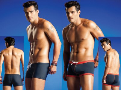 Vuthy Reversible Square Cut Trunk Swimwear Grey/Red 205
