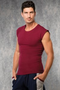 Doreanse Cropped Sleeves Short Sleeved T Shirt Bordeaux 2233