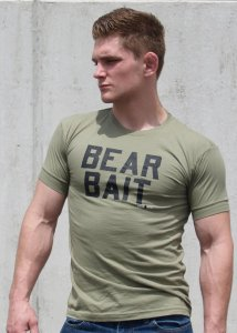 Ajaxx63 Bear Bait Athletic Fit Short Sleeved T Shirt Military Green AS95