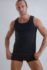 Geronimo Vest Tank Top T Shirt Black/Red Thread 958T1