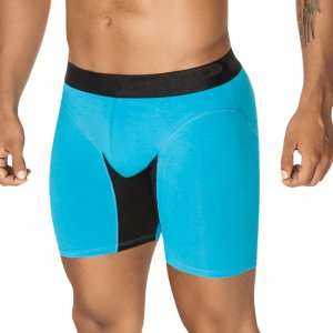 PPU Splash Contrast Long Leg Boxer Brief Underwear Turquoise/Black 1408