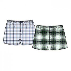 Minerva [2 Pack] Short Popline Check Loose Boxer Shorts Underwear Green & Sky Blue 23072