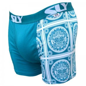 Sly Underwear Work Hard Sugar Skull Boxer Brief Underwear Blue BUWSSB
