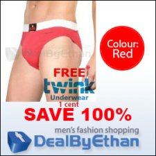 Twink Solid Glovebox Classic Brief FREE Men's Underwear Red