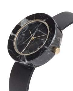 Analog Watch Mason Circular Black Marble Body & Black Strap Watch GB-BO