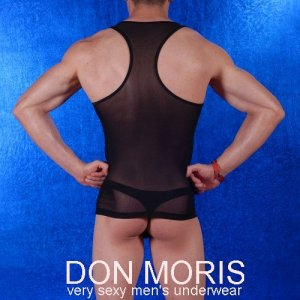 Don Moris Sheer Tank Top T Shirt Black DM080890