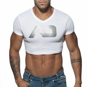 Addicted AD Crop Top Short Sleeved T Shirt White AD819