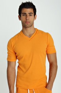 4-rth Hybrid V Neck Short Sleeved T Shirt Sun Orange