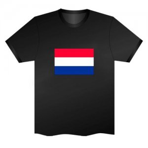 LED Electro Luminescence Flag Of The Netherlands Funny Gadgets Rave Party Disco Light T Shirt Black 31797