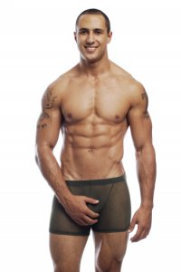 Go Softwear Satin Mesh Boxer Brief Underwear Olive 3303