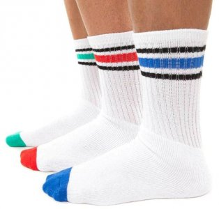 [3 Pack] Ready Wear Crew Sport Socks Green/Red/Blue SPM1109
