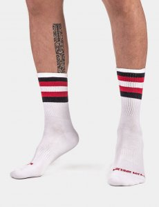 Barcode Berlin Fetish Stripes Half Socks White/Black/Red 917...
