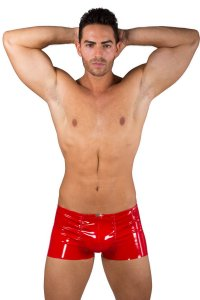 Eros Veneziani Lack PVC Push Up Boxer Brief Underwear Red 7323