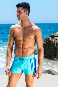 Sauvage Moderno Two Tone Square Cut Trunk Swimwear Sky/Royal