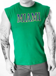 Whittall & Shon Miami Muscle Top T Shirt Green CP353