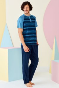 Doreanse Stripe Henley Short Sleeved T Shirt & Pants Set Lou...