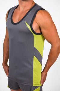 Pistol Pete Cross Fit Muscle Top T Shirt Grey/Lime MT112-208