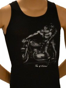 Tom Of Finland Motorcycle Tank Top T Shirt Black