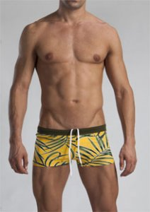 Geronimo Shallow Low Rise Boxer Square Cut Trunk Swimwear Yellow 1121B2