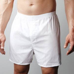 [2 Pack] Players Big Man's Broadcloth Loose Boxer Shorts Underwear White