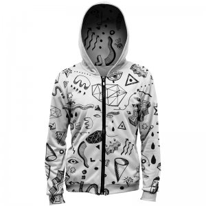 Mr. Gugu & Miss Go Symbols Unisex Zip Up Hoodie H-PC732