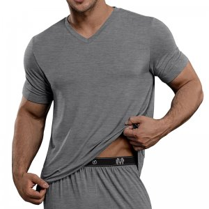 Male Power Bamboo Short Sleeved T Shirt Grey 102-253