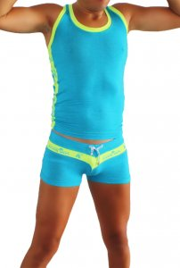 Icker Sea Duotone Matching Tank Top & Boxer Brief Set Blue/G...