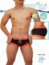 Icker Sea Contrast Trim Square Cut Trunk Swimwear Black/Orange COB-12-130
