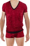 L'Homme Invisible Tosca V Neck Short Sleeved T Shirt Ruby Red MY61D-TOS-900