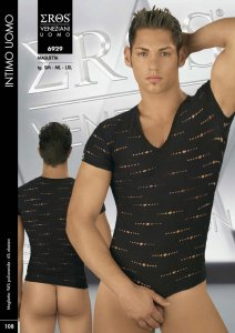 Eros Veneziani See Through V Neck Short Sleeved T Shirt Black 6929