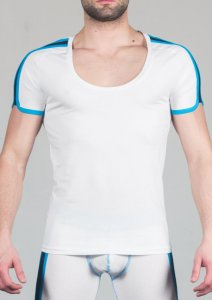 Geronimo Short Sleeved T Shirt White/Blue 1666T5-1