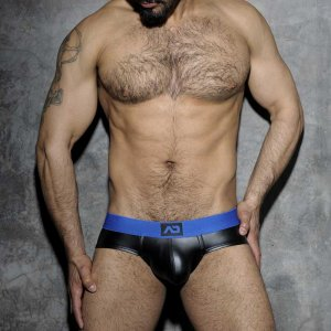 Addicted Fetish Rubber Open Back Brief Underwear Blue ADF52