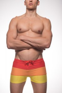 Kineo Clay Square Cut Trunk Swimwear Red/Orange/Yellow KN-SW...