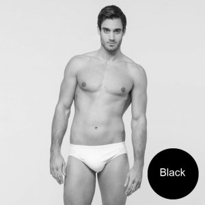 Minerva [2 Pack] Comfort 2 Slip Outside Rubber Brief Underwear Black 21032